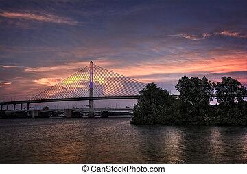 Veterans Glass City Skyway Bridge at Sunset