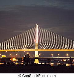 Veterans' Glass City Skyway Bridge in Toledo (Toledo Skyway Bridge), Ohio.