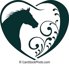 veterinário, coração, cavalo, love.