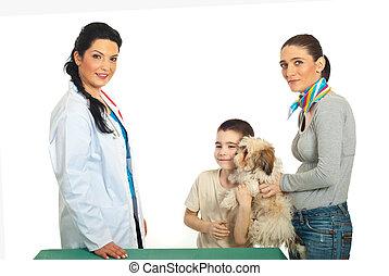 veterinário, filhote cachorro, visita, família