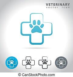 veterinário, jogo, ícone