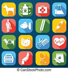 veterinário, jogo, ícones