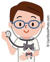veterinário, jovem, ilustração
