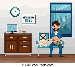 veterinário, personagem, doutor, mascote