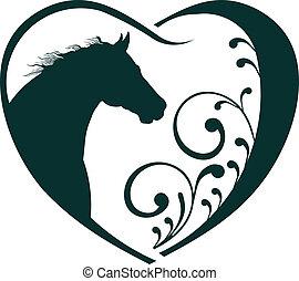 veterinär, hjärta, häst, love.