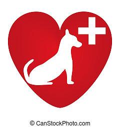 veterinär, hund, symbol