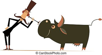 Funny long mustache man in the top hat is examining a smiling cow by endoscope isolated on white