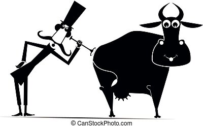 Funny long mustache man in the top hat is examining a smiling cow by endoscope black on white