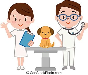 Veterinarian and dog - Vector illustration. Original ...