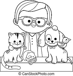 Veterinarian and pets. Vector black and white coloring page