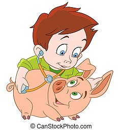 veterinarian and pig - cute young veterinarian boy is...