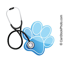 veterinarian concept with a Stethoscope illustration design over white