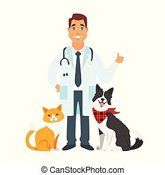 veterinarian doctor with cat, dog