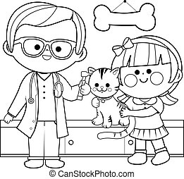 Veterinarian examining a cat. Coloring book page