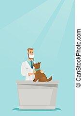 Veterinarian examining dog vector illustration.