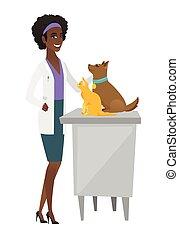 Veterinarian examining pets vector illustration.