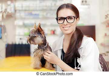 Veterinarian Female Doctor with Dog