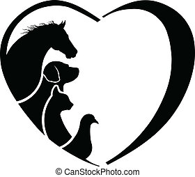 Veterinarian Heart Horse love. Abstraction of animal care