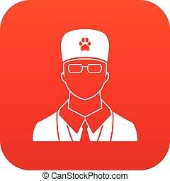Veterinarian icon digital red