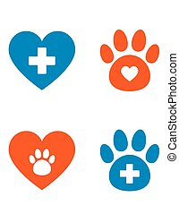 veterinarian icons set