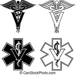 Veterinarian Medical Symbols - Illustration of two versions...