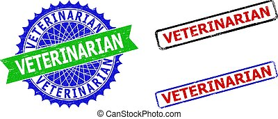 VETERINARIAN Rosette and Rectangle Bicolor Watermarks with Unclean Textures