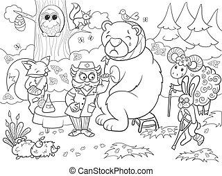 Veterinarian treats animals in the forest vector...