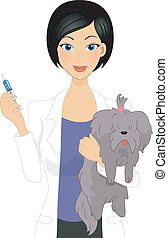 Veterinarian - Illustration of a Vet About to Give a Dog a...