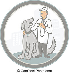 Veterinarian Vet With Pet Dog Cartoon