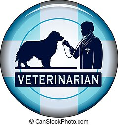 Veterinarian With Dog Button