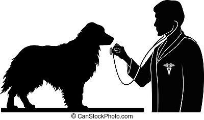 Veterinarian With Dog - Illustration of a design for a vet...