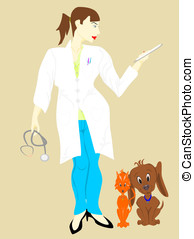 veterinarian woman with dog and cat