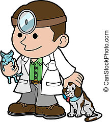 veterinario, animales, ilustración
