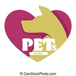 veterinario, animali domestici, clinica, cane, ospedale, testa, icona, isolato