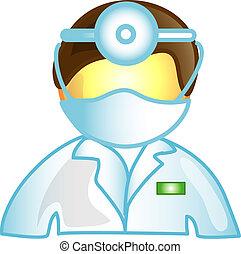 veterinario, médico masculino, icono
