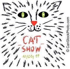 veterinario, mostrare manifesto, advertisiment, gatti, o