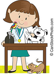 veterinario, mujer, mascotas