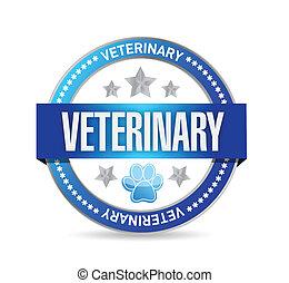 veterinario, sigillo, illustrazione, disegno