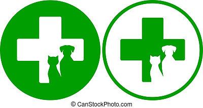 veterinario, verde, iconos