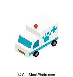 Veterinary ambulance icon, isometric 3d style