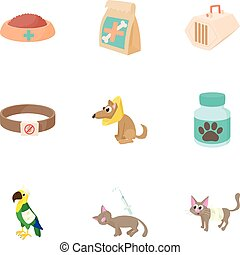 Veterinary animals icons set, cartoon style