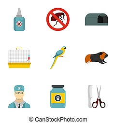 Veterinary animals icons set, flat style