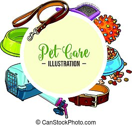 Veterinary banner of pet accessories with round place for text