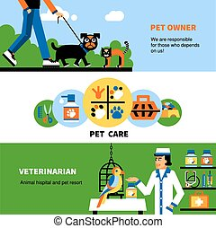 Veterinary banners with pet and veterinarian - Flat ...