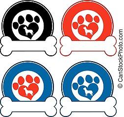 Veterinary Circle Labels With Paw
