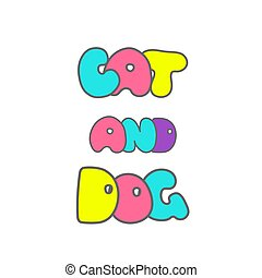 Veterinary clinic logo with the cat and dog. Hand drawn elements for your designs dress, poster