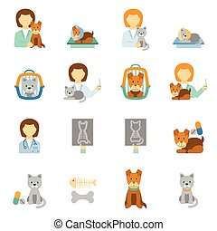 Veterinary clinic practice flat icons set - Veterinary...