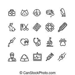 Veterinary Clinic Signs Black Thin Line Icon Set. Vector