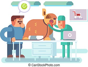 Veterinary clinic visitor and doctor