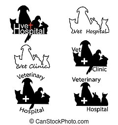 Veterinary Hospital logos with cat, dog, rabbit and parrot ...